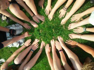Teamwork hands and feet circle